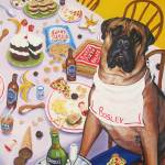 """Bosley loves Groceries - Funny Dog Bull Mastiff"" by RebeccaKorpita"