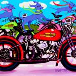 """Dawgs on Hawgs - Funny Blue Dogs on Motorcycles"" by RebeccaKorpita"