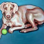 """Weimeraner with Green Ball - Dog Portrait"" by RebeccaKorpita"