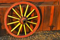 Colorful Anrtique Wagon Wheel
