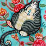 """Tabby Cat on cushion - Funny Fat Cat on Floral"" by RebeccaKorpita"