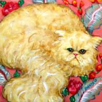 Persian Cat on Cushion - Vintage Floral Funny Fat