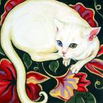 """White Cat on a Cushion - Vintage Floral Feline"" by RebeccaKorpita"