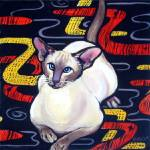 """Siamese Cat on Cushion - Vintage Funny Boomerang"" by RebeccaKorpita"