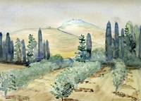 Jerusalem hills Cypresses and Orchard