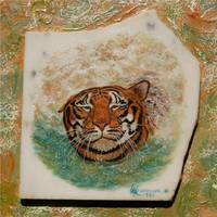 Painting Tiger Cooling Off on Italian Marble