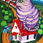 """Cat on a Red Tin Roof - Funny Cat Action People"" by RebeccaKorpita"