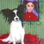 """Reba Jane and Butterfly - Funny Papillon Dog Girl"" by RebeccaKorpita"