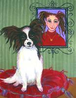 Reba Jane and Butterfly - Funny Papillon Dog Girl