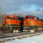 """BNSF trains pass at Eola"" by Laurence"