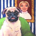 """""""Beth Ann and Butch - Funny Pug Dog Woman Girl"""" by RebeccaKorpita"""