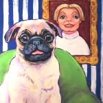 """Beth Ann and Butch - Funny Pug Dog Woman Girl"" by RebeccaKorpita"