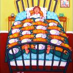 """Cat Quilt - Funny Woman Sleeping with Cats"" by RebeccaKorpita"