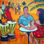 """Fiesta at the Beach - Dance Music Seashore Bongos"" by RebeccaKorpita"