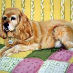 """Sadie - Cocker Spaniel Dog on Quilt"" by RebeccaKorpita"