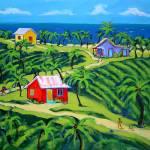 """Island Time - Colorful Tropical Cottages Seashore"" by RebeccaKorpita"