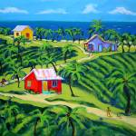 """Island Time - Colorful Tropical Cottages Seashore"" by RebeccaKorpita"