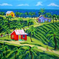 Island Time - Colorful Tropical Cottages Seashore Art Prints & Posters by Rebecca Korpita