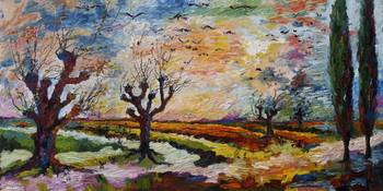 Landscape Autumn Migration Oil Painting Ginette