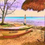 """Cozumel Colors - Boat Beach Seashore Sunset Mexico"" by RebeccaKorpita"