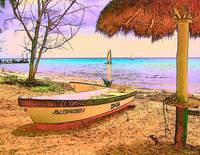 Cozumel Colors - Boat Beach Seashore Sunset Mexico