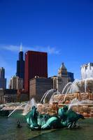 Chicago Skyline and Buckingham Fountain 2010 #7