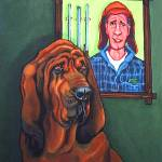 """Bervil and Blue - Funny Bloodhound Shotgun Man"" by RebeccaKorpita"