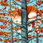 """Cat in Camouflage - Orange Tabby Fall Autumn Tree"" by RebeccaKorpita"