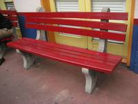 Empty Red Bench