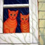 """Inside Looking Out - Funny Orange Tabby Cat Window"" by RebeccaKorpita"