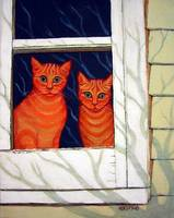 Inside Looking Out - Funny Orange Tabby Cat Window