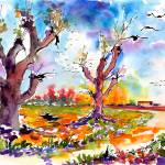 """Autumn Migration Watercolor and Ink Painting Ginet"" by GinetteCallaway"