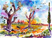Autumn Migration Watercolor and Ink Painting Ginet
