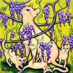 """Stopping to Smell Wisteria - Funny Cat Flowers"" by RebeccaKorpita"