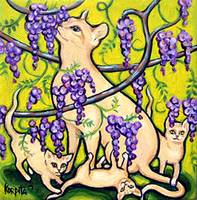 Stopping to Smell Wisteria - Funny Cat Flowers