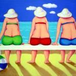 """Wave Watch - Funny Women Beach Seashore"" by RebeccaKorpita"