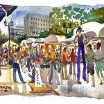 """Stiltwalker, St. Louis Art Fair"" by michaelandersonartprints"