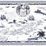 """Virgin Island Nautical Chart  Delft Blue Ink Drawi"" by savanna"