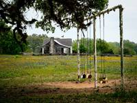 Swing set and cabin