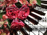 Classical piano with roses