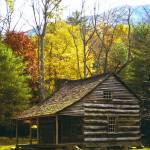 """Log Cabin with Autumn Trees"" by darknesstolight"