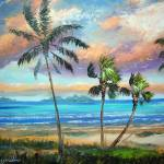 """Tropical Island Beach Painting"" by mazz"