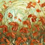 """aqua amber poppies"" by modernhouseart"