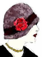 Flapper and red rose hat