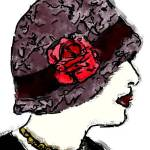 """Flapper girl and red rose illustration"" by MiraDimi"