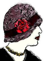 Flapper girl and red rose illustration