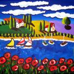 """Poppies, Sailboats, Tuscan Scene"" by reniebritenbucher"