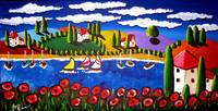 Poppies, Sailboats, Tuscan Scene