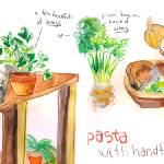 """Pasta with Herbs by Naomi Bardoff"" by TheyDrawandCook"
