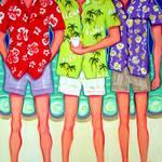 """Aloha - Funny Men Hawaiian Shirts Beach Seashore"" by RebeccaKorpita"